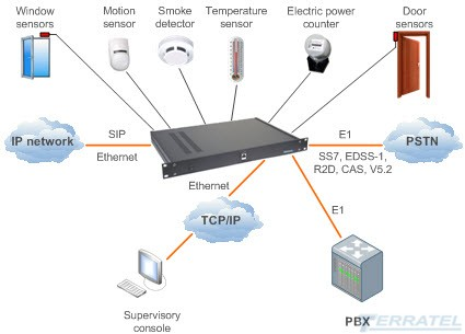 Option of use of the VOIP gateway with Access and Sensor Monitoring Unit